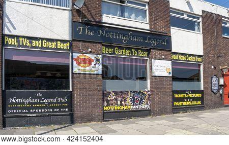 Nottingham, Nottinghamshire, England- June 1, 2021. The Nottingham Legend Pub Building Exterior View