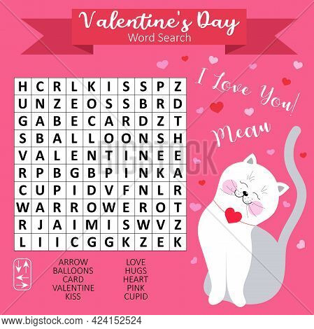 Valentine's Day Word Search Puzzle For Kids. Educational Game For Learning English. Printable Worksh