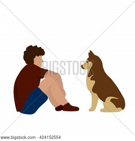 Illustration Of A Person With A Pet. Vector Poster With The Owners Dog During The Games. A Man And A