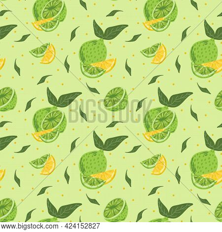 Modern Citrus Pattern. Vector Background With Lemons And Lime For Textiles. Cute Pattern With Yellow