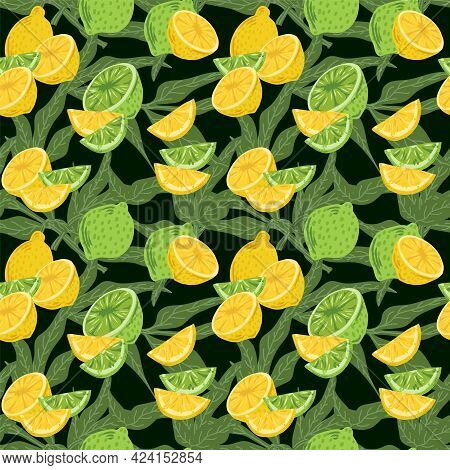 Pattern With Citrus Fruits. Modern Background With Juicy Lemons In The Leaves. Vector Beautiful Back