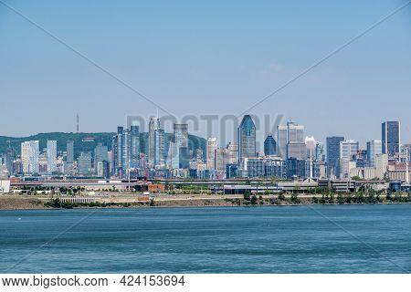 Montreal, Ca - 7 June 2021: Montreal Skyline From Samuel De Champlain Bridge