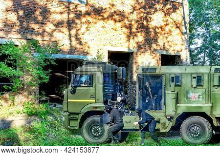 Abakan, Russia - August 21, 2018: A Swat Team Armored Truck Vehicle At Police Operation..