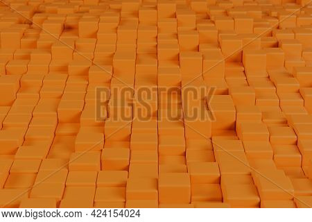 Orange Geometric Shapes Background. Abstract Backdrop. 3d Illustration.