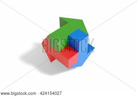 Red Green And Blue Arrows On White Background. 3d Illustration.