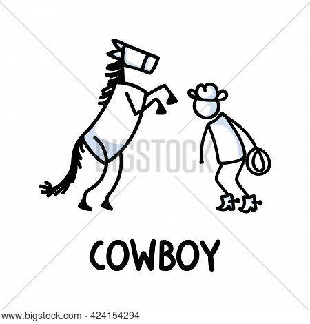 Black And White Drawn Stick Figure Of Cowboy Horse Text. Wild Masculine Stallion For Monochrome Folk