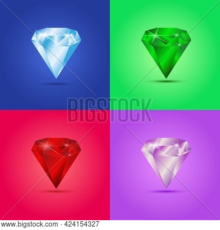 Set Of Different Colour Vector Gemstones, On Different Backgrounds