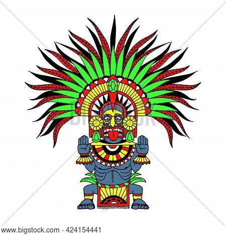 Indian Decorative Totem, Aztec God Wearing A Feather Crown, Masked Shaman, Tiki Statue, Color Vector