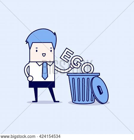 Businessman Throw His Ego Into The Trash. Cartoon Character Thin Line Style Vector.