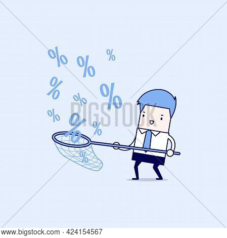 Businessman Catching Percent Signs. Cartoon Character Thin Line Style Vector.