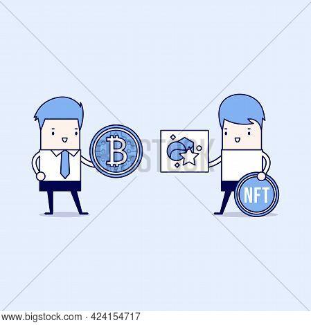 Technology Of Selling Nft Tokens For Cryptocurrency. Male Artist Or Art Dealer Sells Artworks Online