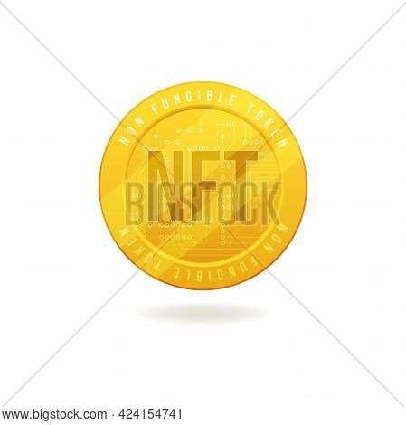Gold Coin Nft Non Fungible Token Isolated On White Background.
