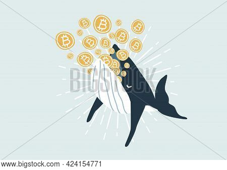 Whale Eating Bitcoin. Bitcoin Whales Are Considered Market Players With Significant Funds That Are A