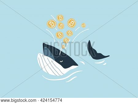 Whale Spouting Bitcoin. Bitcoin Whales Are Considered Market Players With Significant Funds That Are