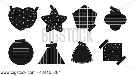 Black Silhouette Paper Sticker Set. Memo Sticker With Different Linear, Cross, Dotted And Grid Patte