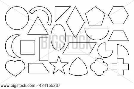 Black Outline Geometric Shapes Icons Set. Linear Template Simple Basic Figures. Educational Material