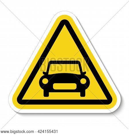 Symbol Sign Car Prohibition Sign On White Background