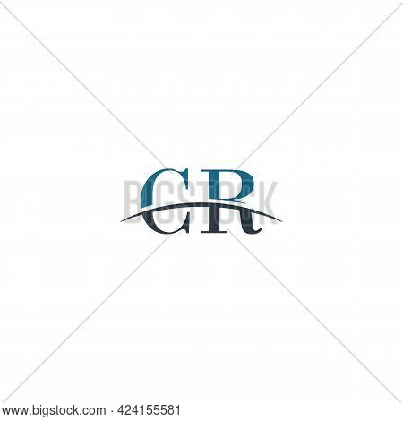Initial Letter Cr, Overlapping Movement Swoosh Horizon Logo Company Design Inspiration In Blue And G