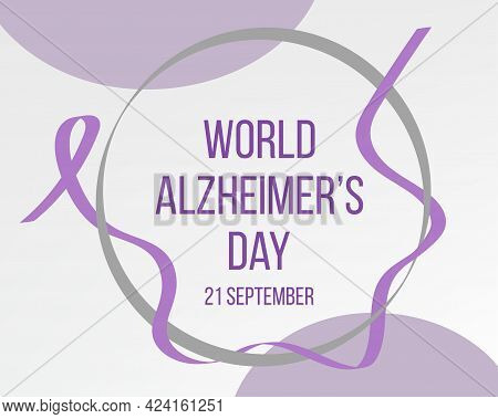 World World Alzheimer's Day Concept. Banner Template With Purple Ribbon And Text. Vector Illustratio