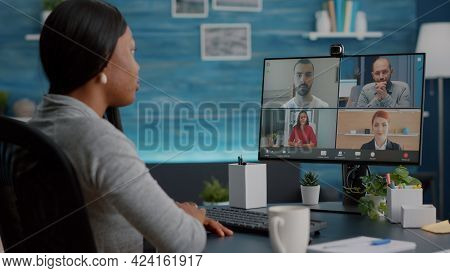 Black Student Talking With Marketing University Team During Online Videocall Meeting Conference Tele