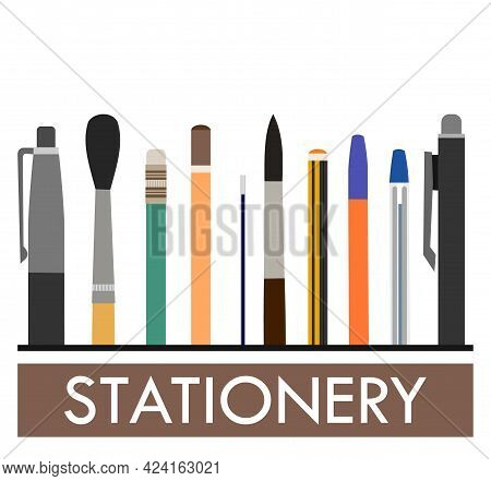 Stationery. Logo. Background For Advertising A Store, Company. Illustration. Isolated On A White Bac