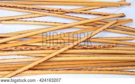 A Scattering Of Bread Sticks. Art Bread.