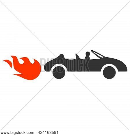 Cabriolet Rush Icon With Flat Style. Isolated Raster Cabriolet Rush Icon Image, Simple Style.