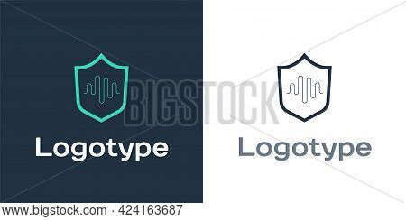 Logotype Shield Voice Recognition Icon Isolated On White Background. Voice Biometric Access Authenti
