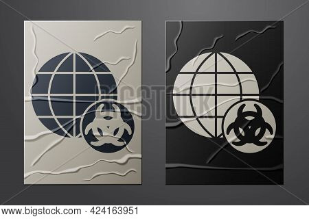 White Gmo Icon Isolated On Crumpled Paper Background. Genetically Modified Organism Acronym. Dna Foo