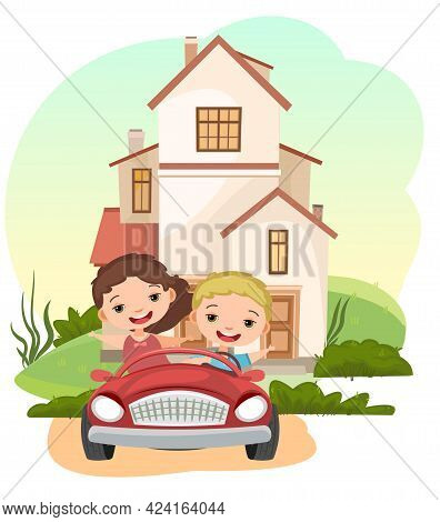 Kids Goes On Adventure In Little Car. Kid Drives Pedal Or Toy Electric Car. Cartoon Isolated Illustr