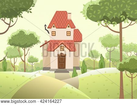 Cartoon House In The Woods Among The Trees. Hills And Road. A Beautiful, Cozy Country House In A Tra