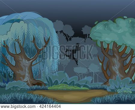 Forest Glade At Night. Dark Trees. Playground. Edge With Grass And Hills. Meadow And Bushes. Beautif
