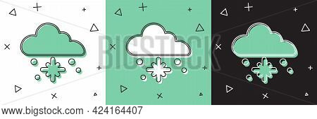 Set Cloud With Snow Icon Isolated On White And Green, Black Background. Cloud With Snowflakes. Singl