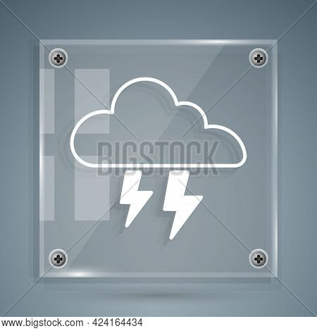 White Storm Icon Isolated On Grey Background. Cloud And Lightning Sign. Weather Icon Of Storm. Squar