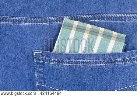 Cotton Handkerchief In New Blue Jeans Pocket