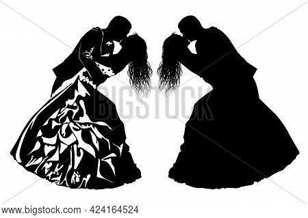 Black And White Image Of Kissing Bride And Groom Vector Illustration