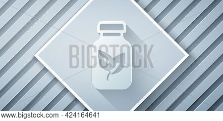 Paper Cut Fertilizer Bottle Icon Isolated On Grey Background. Paper Art Style. Vector