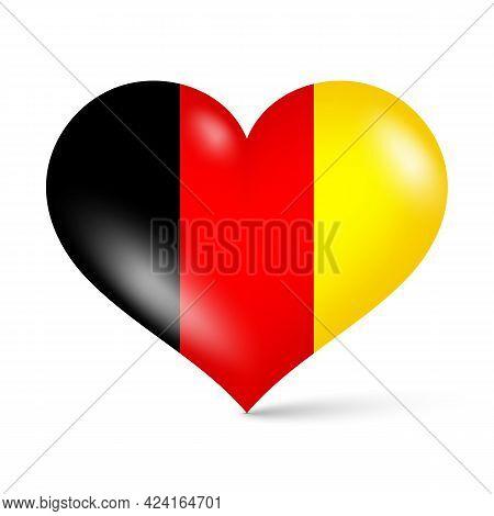 3d Glossy Heart Shape National Flag Of Germany Vector Illustration