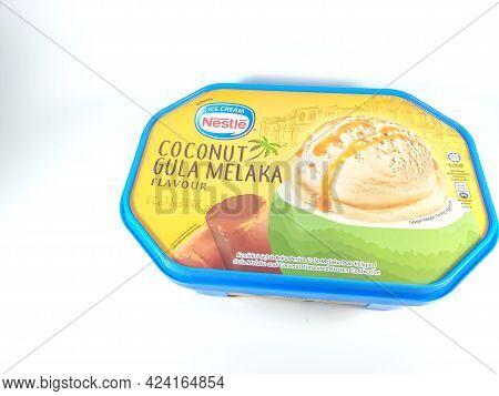 Malaysia, Perak, 19 June 2021: Ice Cream From Nestle Brand Flavored Coconut Gula Melaka (in Malay) I