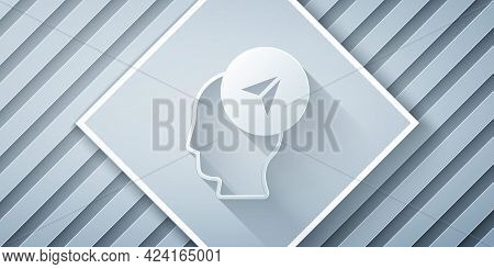 Paper Cut Map Marker With A Silhouette Of A Person Icon Isolated On Grey Background. Gps Location Sy