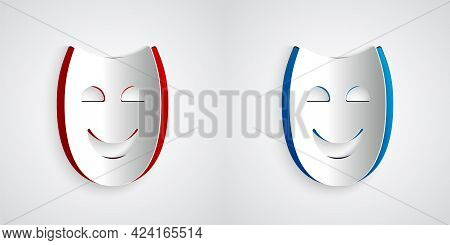 Paper Cut Comedy Theatrical Mask Icon Isolated On Grey Background. Paper Art Style. Vector