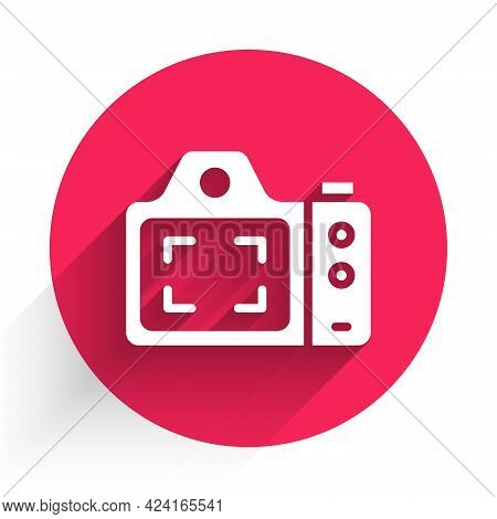 White Photo Camera Icon Isolated With Long Shadow. Foto Camera. Digital Photography. Red Circle Butt