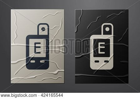 White Light Meter Icon Isolated On Crumpled Paper Background. Hand Luxmeter. Exposure Meter - A Devi