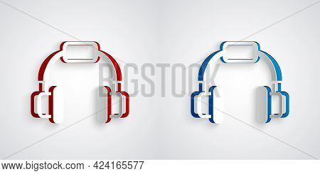 Paper Cut Headphones Icon Isolated On Grey Background. Earphones. Concept For Listening To Music, Se