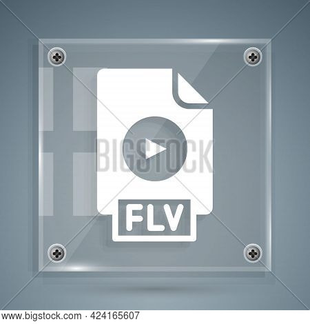 White Flv File Document Video File Format. Download Flv Button Icon Isolated On Grey Background. Flv