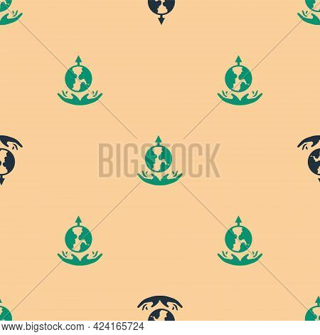 Green And Black World Expansion Icon Isolated Seamless Pattern On Beige Background. Vector