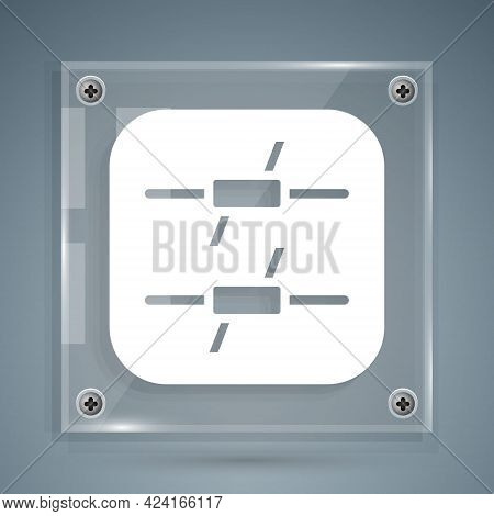 White Barbed Wire Icon Isolated On Grey Background. Square Glass Panels. Vector