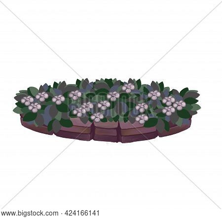 Isolated Object Of Flowerbed And Garden Sign. Collection Of Flowerbed And Bush Icon For Stock. High