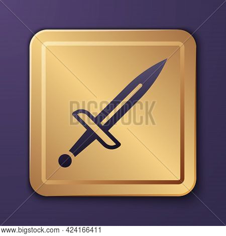 Purple Dagger Icon Isolated On Purple Background. Knife Icon. Sword With Sharp Blade. Gold Square Bu