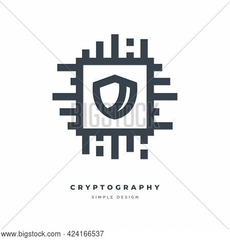 Cryptography Thin Line Icon Isolated On White Background.